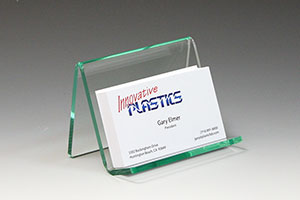 Glass green acrylic business card holder