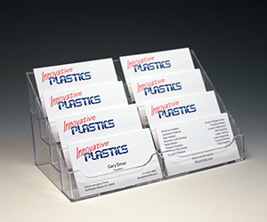 8 Pocket Business Card Holder - Clear Acrylic - Free Standing