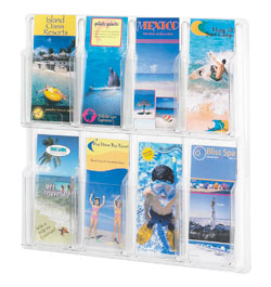 8 brochure pocket clear plastic wall mount brochure display - 5608CL
