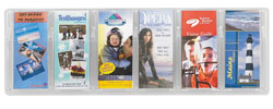 6 pocket clear plastic wall mount brochure display - 5616CL